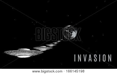 Ufo invader invation vector illustration. Army of alien spaceships flies to the earth.
