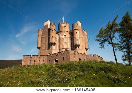 Braemar Castle, Aberdeenshire, Scotland is a former hunting lodge built in 1628 by the Earl of Mar and with historic connections to the Jacobite risings, and Queen Victoria.