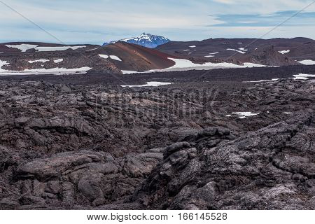 Black lava field on Iceland with red hill