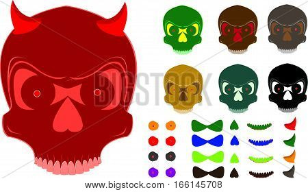 Skull stock images with more diferent  Colours