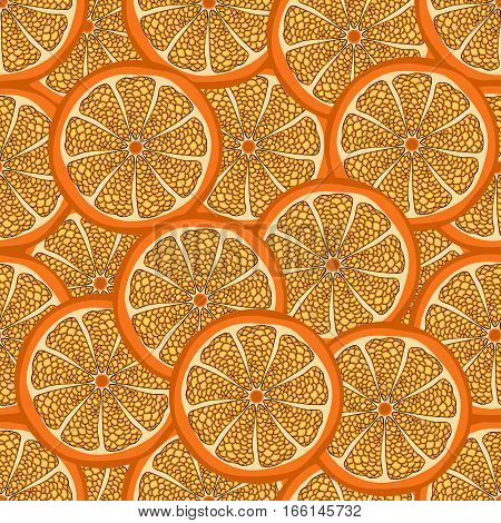 Orange Slice In A Cut, Seamless Pattern, Fruit Background. Painted Citrus, Graphic Art, Cartoon. For