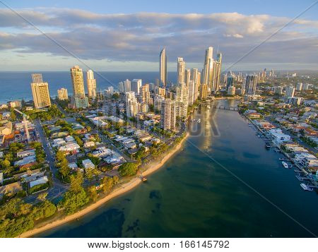 An aerial view of Budds Beach; a luxury Gold Coast suburb in Surfers Paradise, Queensland, Australia