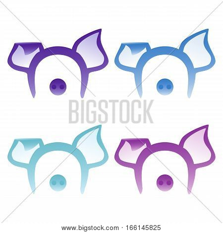 Pig ears mask lilac and purple decoration on the head