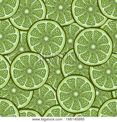Slices Of Lime In A Cut Seamless Pattern, Fruit Background. Drawing Citrus, Graphic Art, Cartoon. Fo