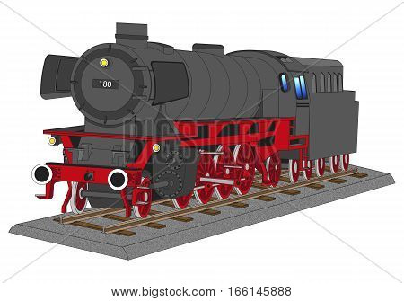 steam locomotive on a piece of track