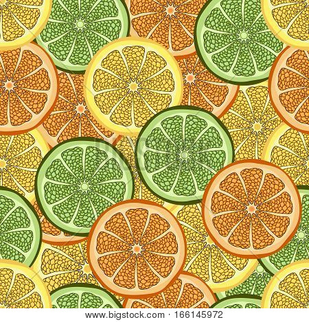 Slices Of Orange, Lime And Lemon In A Cut, Seamless Pattern, Fruit Background. Drawing Citrus, Graph