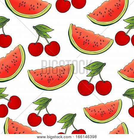 Slices Of Watermelon And Cherries Seamless Pattern, Fruit Background. Drawing  On A White , Cartoon.