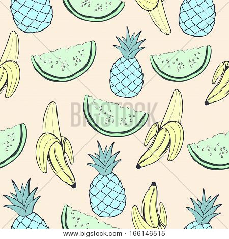 Abstract Blue Pineapple, Green Watermelon And Banana, Fruit In Unusual Creative Colors, Vintage Seam