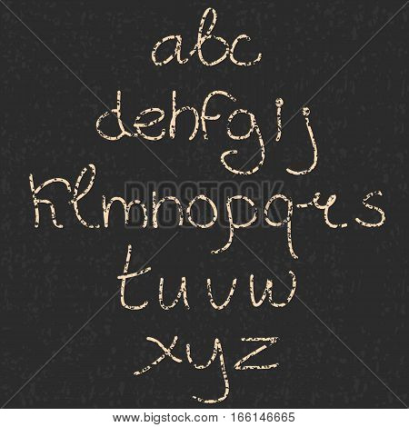 Cute hand drawn letter. Doodle type. Slim. Sans serif. Display faces. Uppercase and lowercase letters. Textured.
