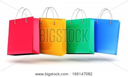 3D render illustration of the group of color paper shopping bags isolated on white background