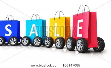 3D render illustration of train from the group of color paper shopping bags with Sale word text and car wheels isolated on white background with reflection effect