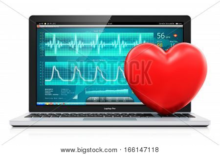 3D render illustration of laptop or notebook computer PC with medical cardiologic diagnostic test software on screen and red heart shape isolated on white background