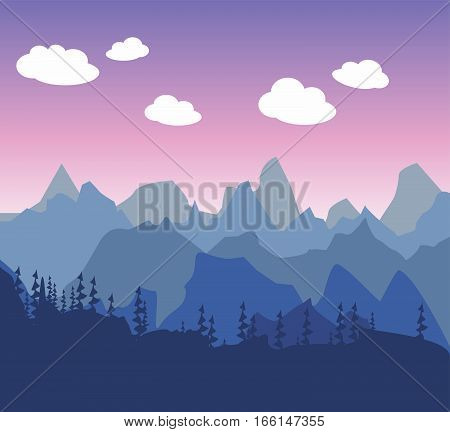 Mountain morning or evening landscape in a simple style flat. Silhouettes of trees and forests against the background of pink and purple cloudy sky. Walk to the tourist.