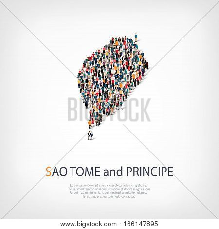 Isometric set of styles, people, map of Sao Tome, country, web infographics concept of crowded space, flat 3d. Crowd point group forming a predetermined shape. Creative people. Vector illustration. Photo vector.3D illustration. White background . Isolated