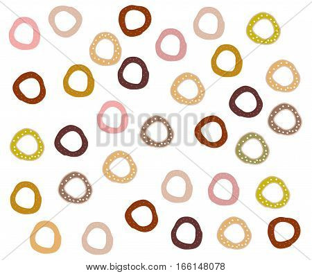 a lot of donuts of different colors on a white background