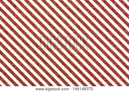 Slanted glittery lines. Rectangular orientation. Diagonal red stripes of glitter
