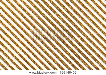 Slanted glittery lines. Rectangular orientation. Diagonal golden stripes of glitter