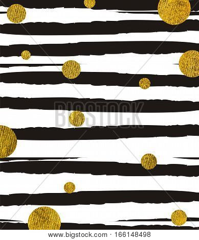 Golden round circles of different sizes on a background of black ragged uneven stripes. Texture glitter. Rectangular vertical.
