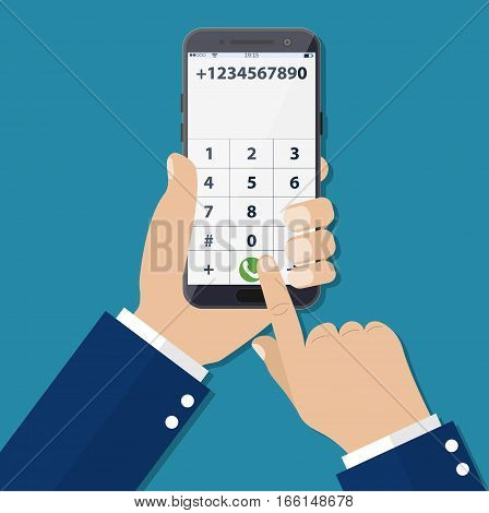Dial number concept. Businessman touching buttons with numbers on the mobile phone screen to make a phone call.