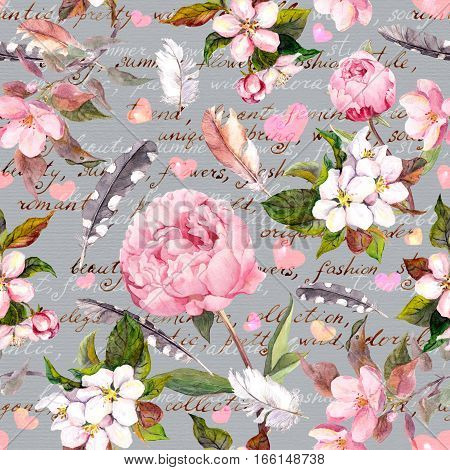 Seamless floral background with aquarelle painted apple and cherry flowers blossom, isolated