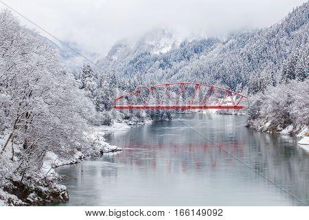 Japan countryside winter landscape at Mishima town Fukushima prefecture