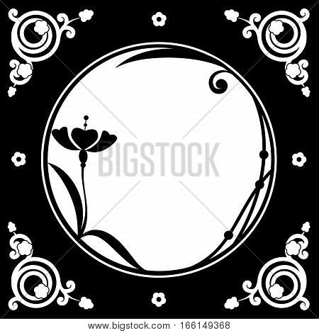 vector folk floral frame in black and white color