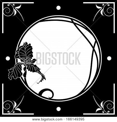 vector floral frame with iris in black and white colors