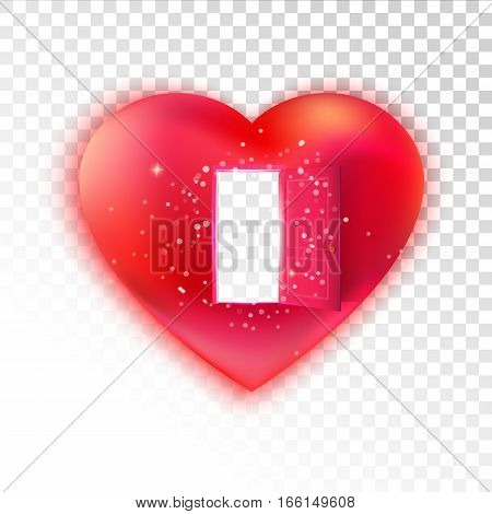 Vector heart with open door on transparent background. Sweet love and invitation concept. Valentines illustration. Waiting love idea. Free love. Free heart.