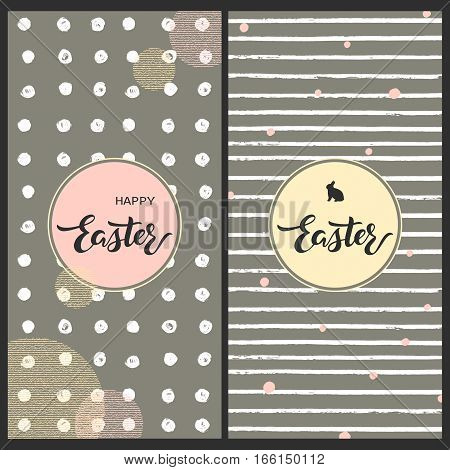 vector set with two pretty easter cards with geometric textures hand drawn words happy easter and rabbit in a circle frame