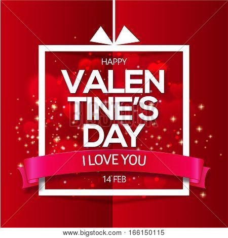 Valentine's day abstract background with hearts and text I love you on ribbon. Vector illustration of paper design Holiday card. Simple linear frame with bow. Trendy greeting card, banner, poster