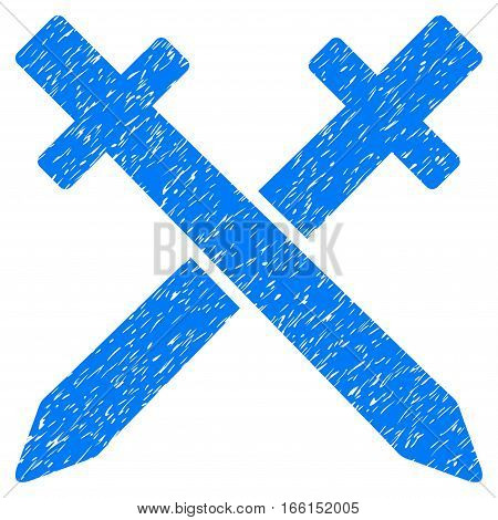 Crossing Swords grainy textured icon for overlay watermark stamps. Flat symbol with unclean texture. Dotted vector blue ink rubber seal stamp with grunge design on a white background.