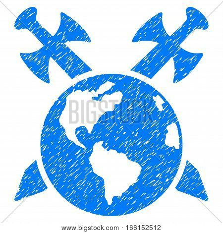 Earth Swords grainy textured icon for overlay watermark stamps. Flat symbol with unclean texture. Dotted vector blue ink rubber seal stamp with grunge design on a white background.