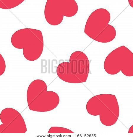 Seamless heart pattern. Romantic red hearts background. Vector illustration.