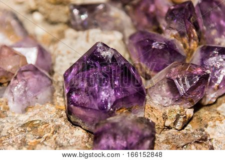 Beautiful Fluorite crystals in the rock closeup
