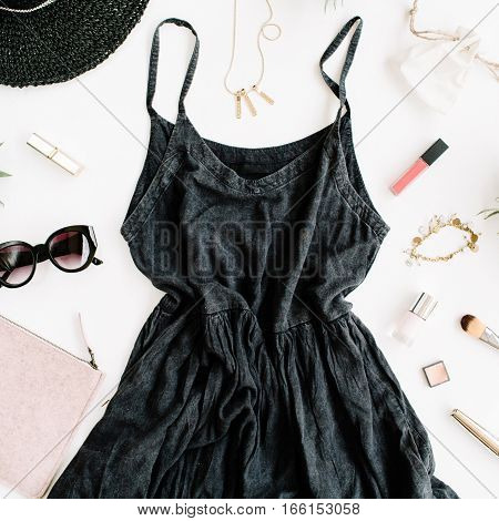 Summer casual style. Modern woman clothes and accessories collage. Dress sunglasses hat purse lipstick. Flat lay top view