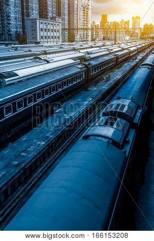 Trains network At Railroad Station of Shanghai China.
