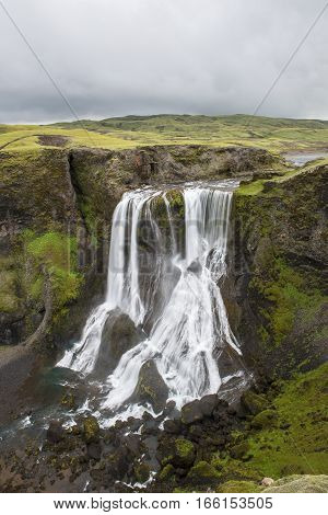Fagrifoss big waterfall near Laki on Iceland