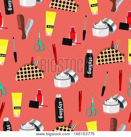 Cosmetic Seamless Pattern, Fashion Accessories Background. Nail Polish, Makeup, Hair Styling, Spray,