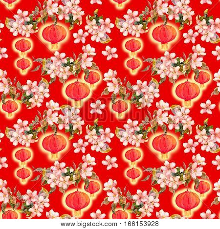 Branch of plum blossom with red paper lantern. Chinese new year repeating background. Watercolor