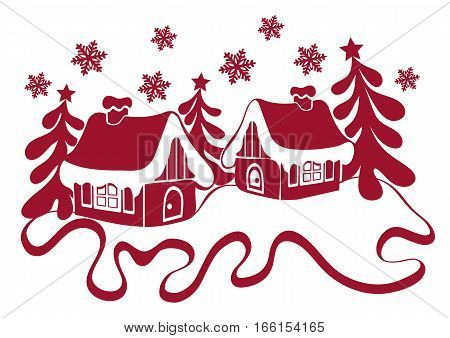 Christmas Winter Abstract Composition. Contour Houses In The Snow, Christmas Tree Decorated With Sta