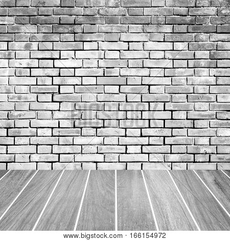Vintage brick wall and wood floor texture and background