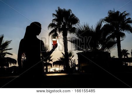 silhouette of a girl with cocktail on a background of palm trees