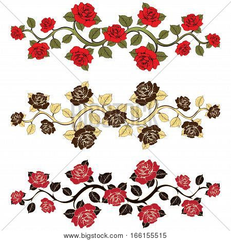 Flower Branch Roses Set. Ornament With Roses. Floral Print. Floral Frame, Flower Card, Border Of Flo