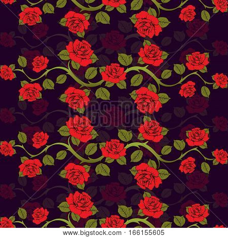 Seamless Floral Pattern With Roses Branches. Floral Print. Bright, Contrasting Vector Floral Backgro