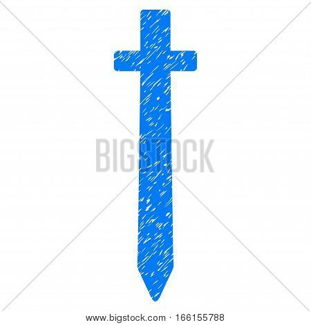 Symbolic Sword grainy textured icon for overlay watermark stamps. Flat symbol with dirty texture. Dotted vector blue ink rubber seal stamp with grunge design on a white background.