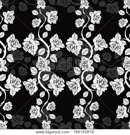 Seamless Floral Pattern With Roses Branches. White Roses On A Black Background. Monochrome, Vector B