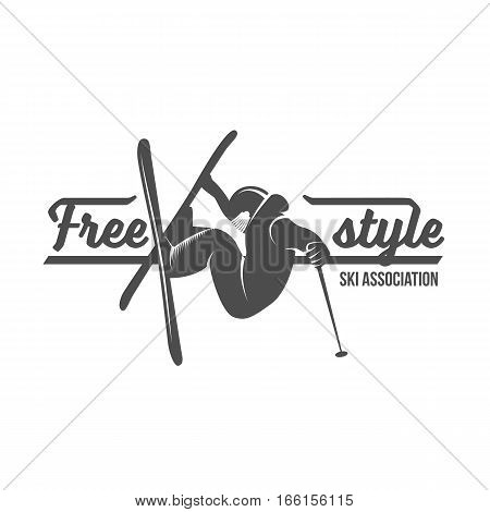 Vintage ski freestyle logo, badge, emblem and design elements. Winter extreme sports. Old school sport logotype. Monochrome badge.