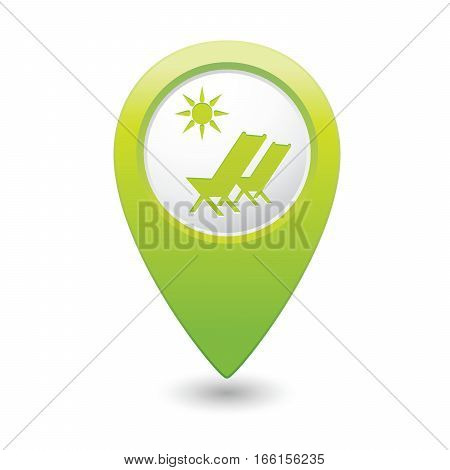 Beach chair icon on map pointer, vector illustration