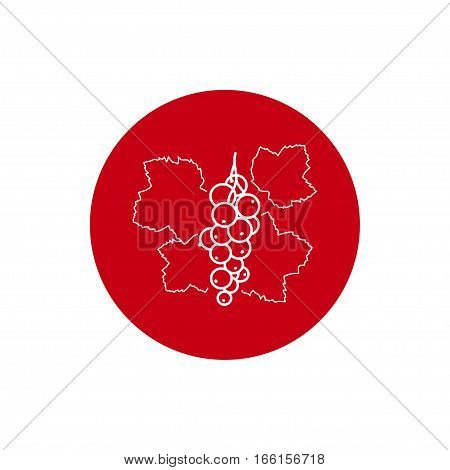 Redcurrant Colorful Round Icon, Redcurrant Fruit  Berry Icon