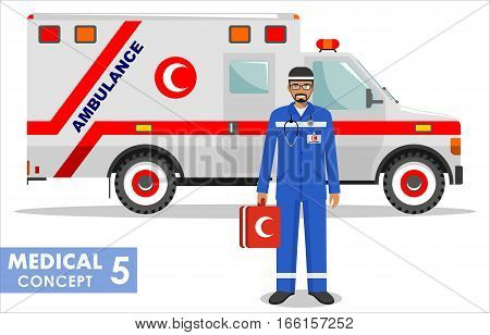 Detailed illustration of muslim medical people and ambulance car in flat style on white background.